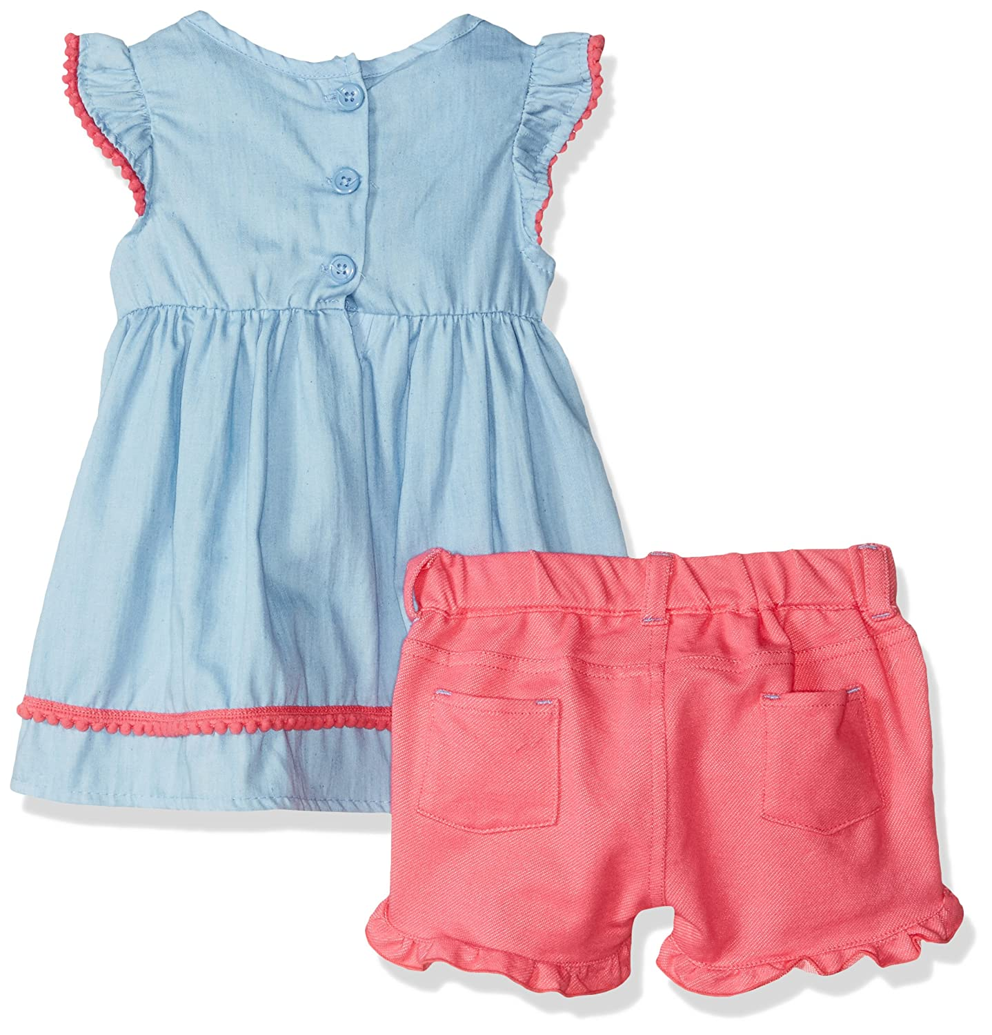 Nannette Baby Girls 2 Piece Blouse with Embroidery and Woven Short Set
