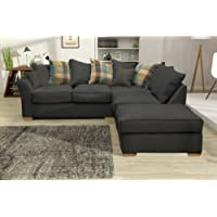 Hugo Corner Sofa Set Including Detachable Footstool (Charcoal, Right Hand-Formal Back)