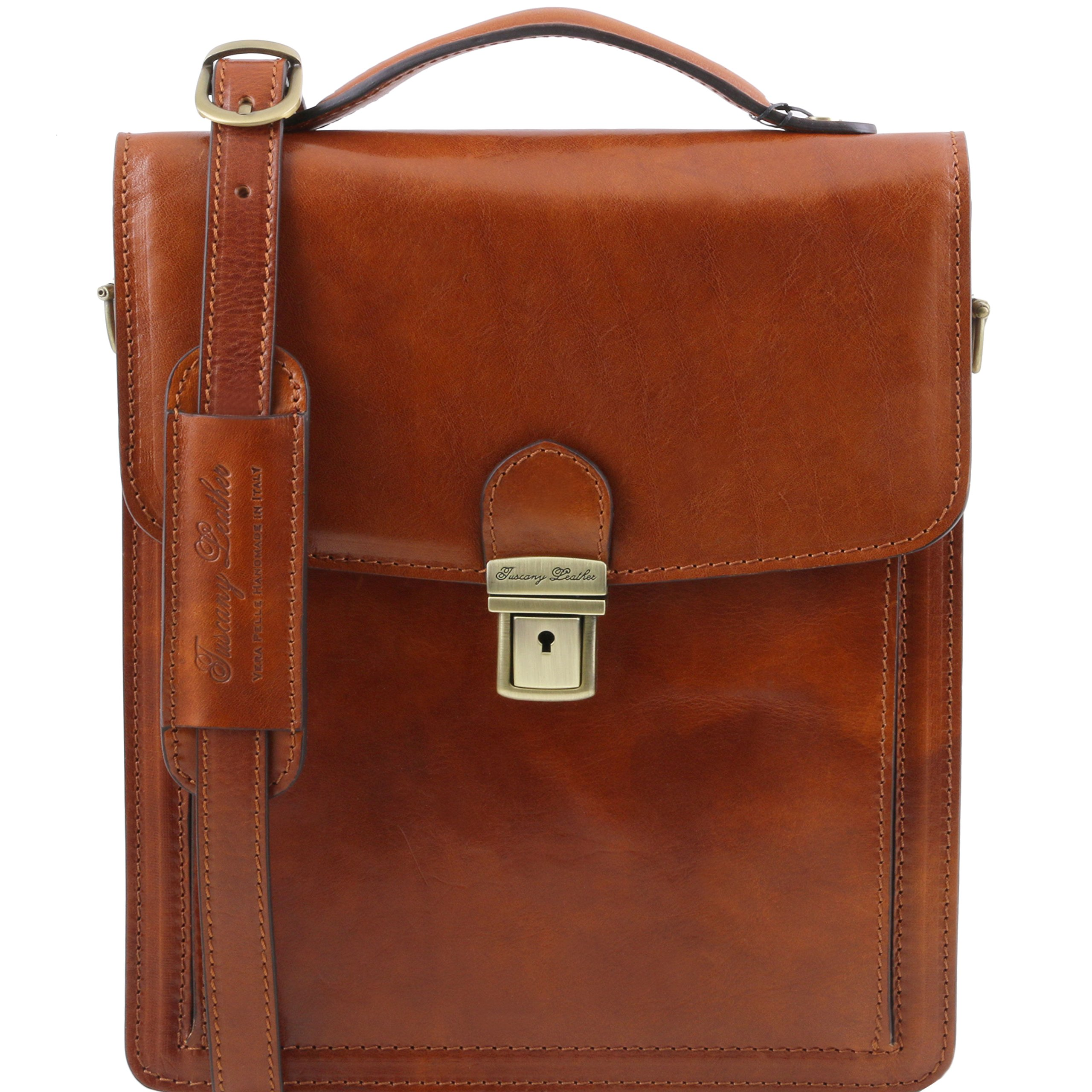 Tuscany Leather David Leather Crossbody Bag - large size Honey Leather bags for men