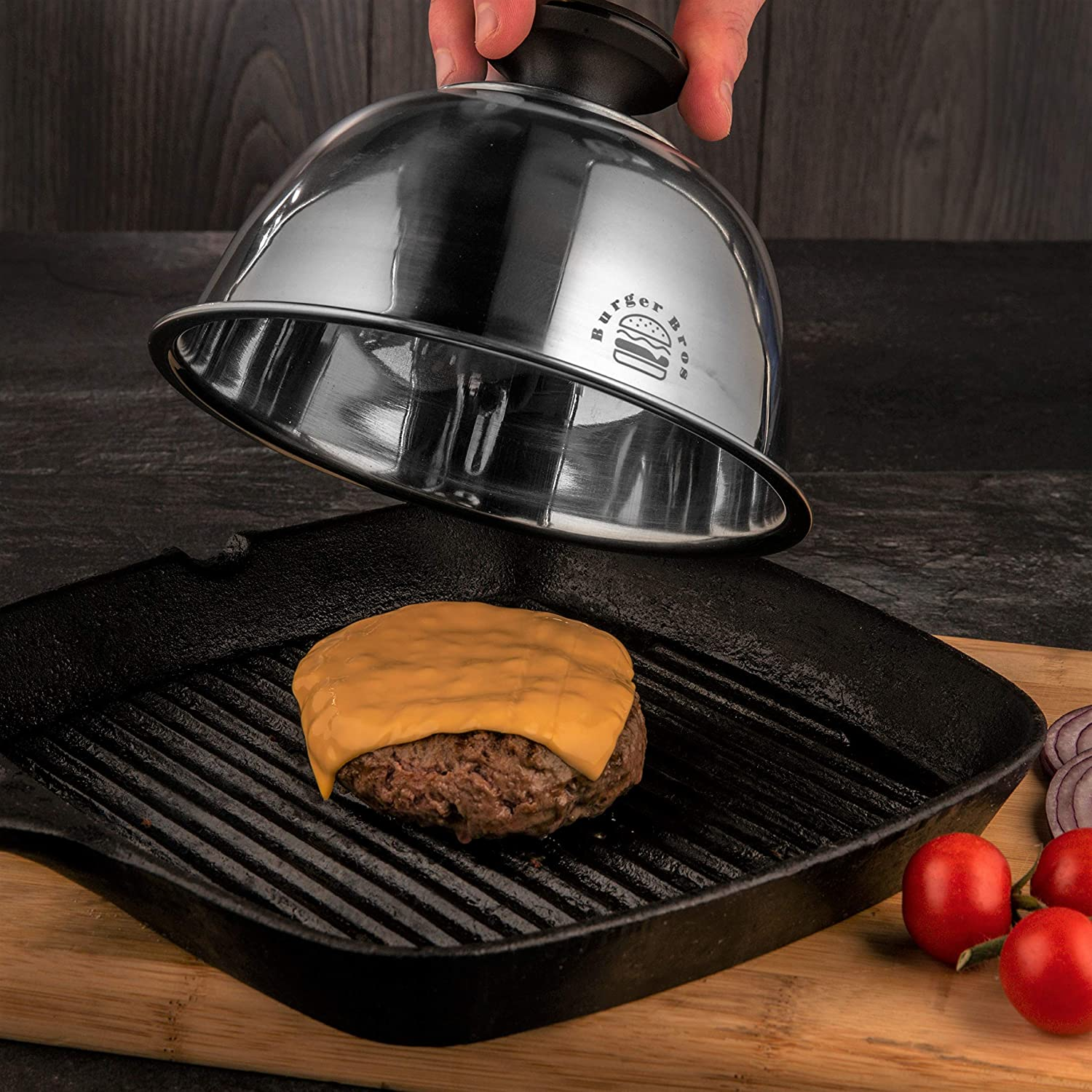 Great for Skillet Never Burn Your Hands Again 6.5 Basting Cover//Cheese Melting Dome with Heat Resistant Handle by Burger Bros Flat Top Grill /& Griddle
