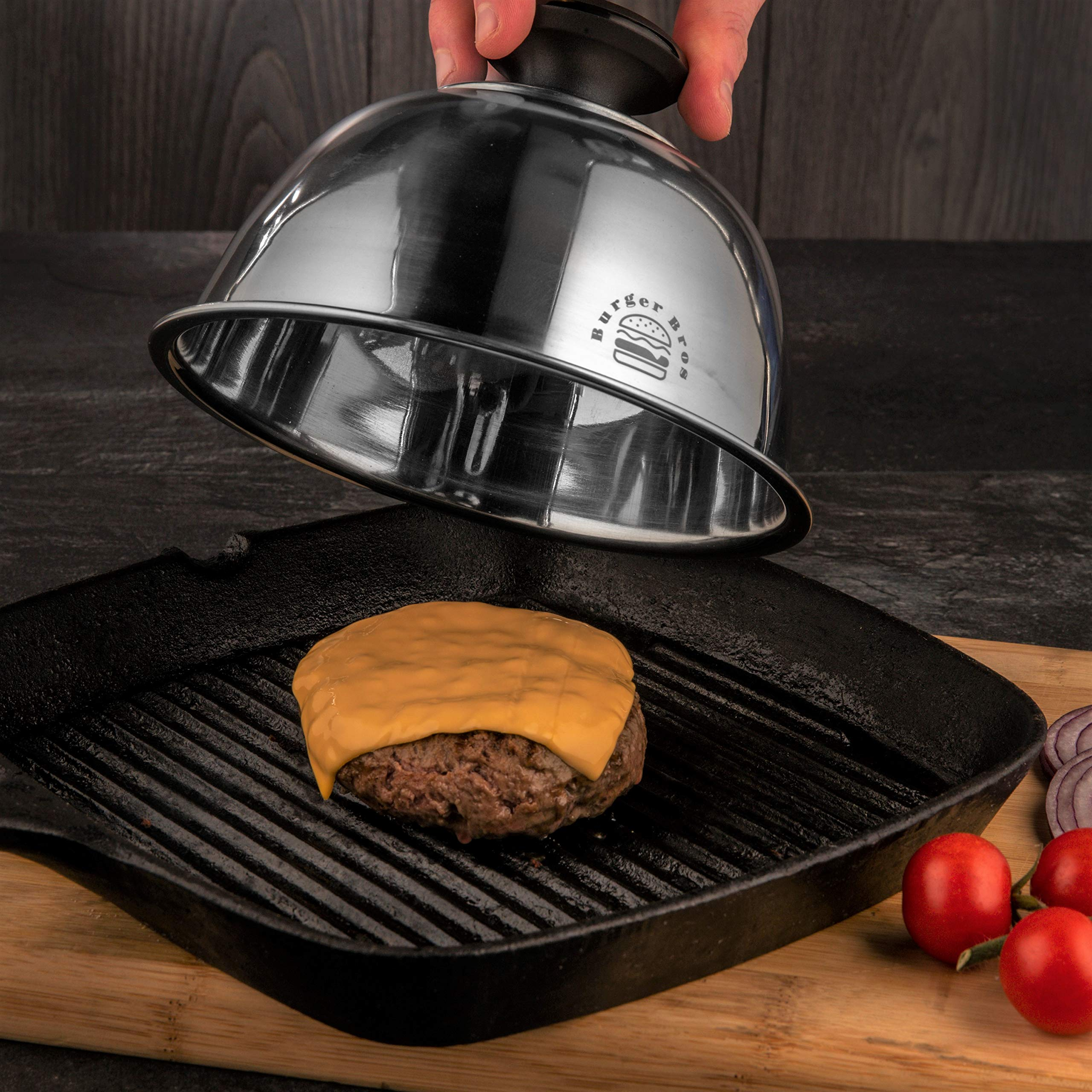Basting Cover/Cheese Melting Dome with Heat Resistant Handle (6.5'')– Never Burn Your Hands Again – Great for Skillet, Flat Top Grill & Griddle – by Burger Bros by HAYDOCK (Image #2)