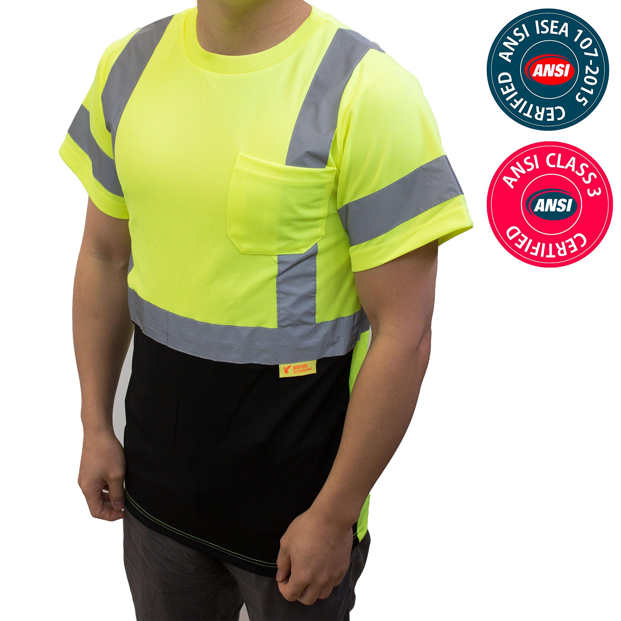 NY BFS8512 High-Visibility Class 3 T Shirt with Moisture Wicking Mesh Birdseye, Black Bottom (Large, Green)