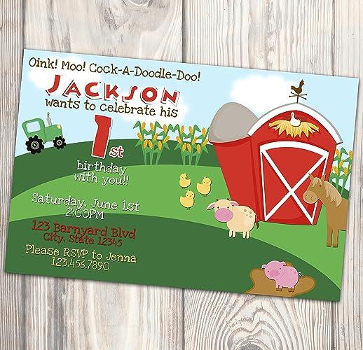 amazon com barnyard birthday party invitation farm animals ranch