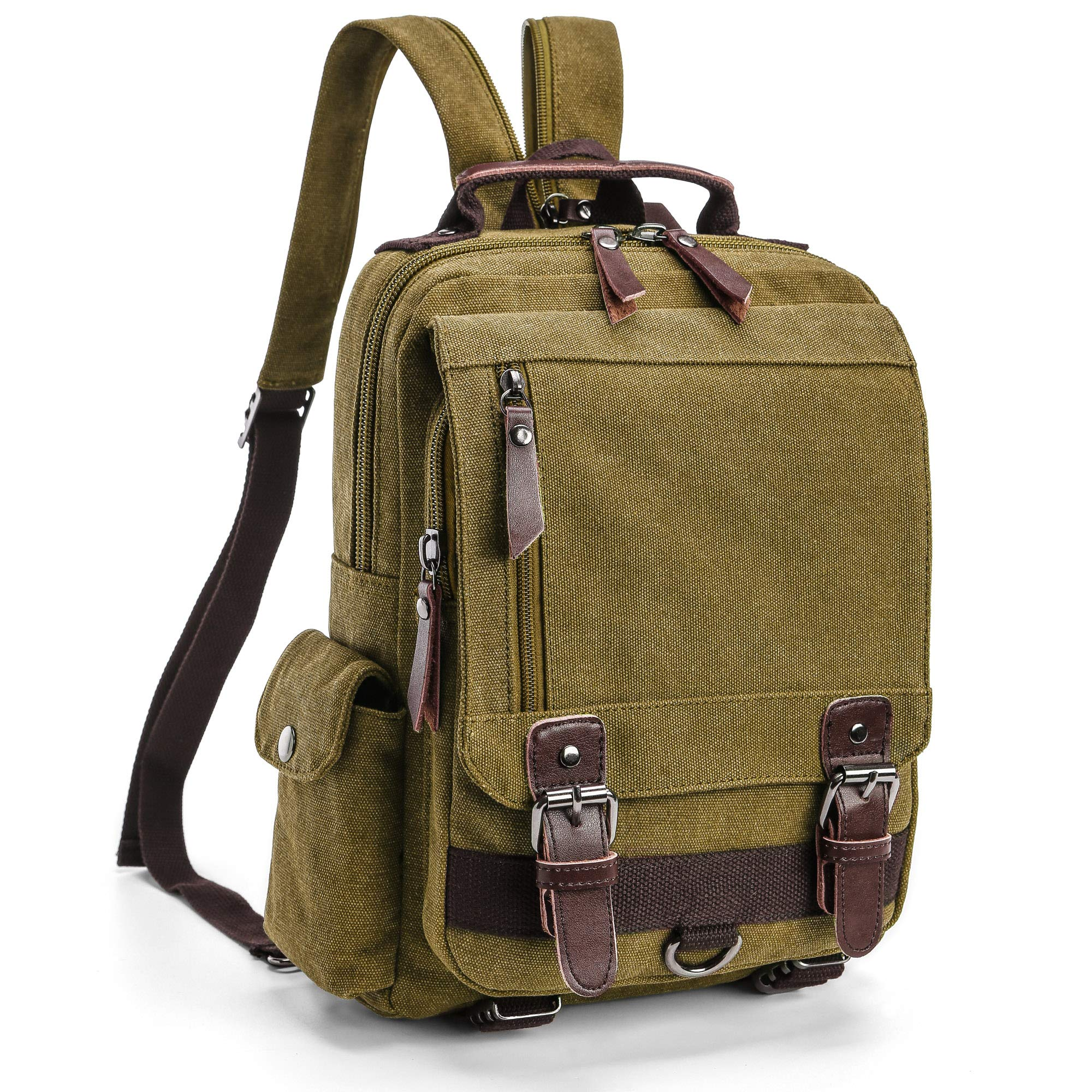 Backpack Purse for Women, F-color Dual Use Canvas Sling Bag Mini Backpack, Khaki