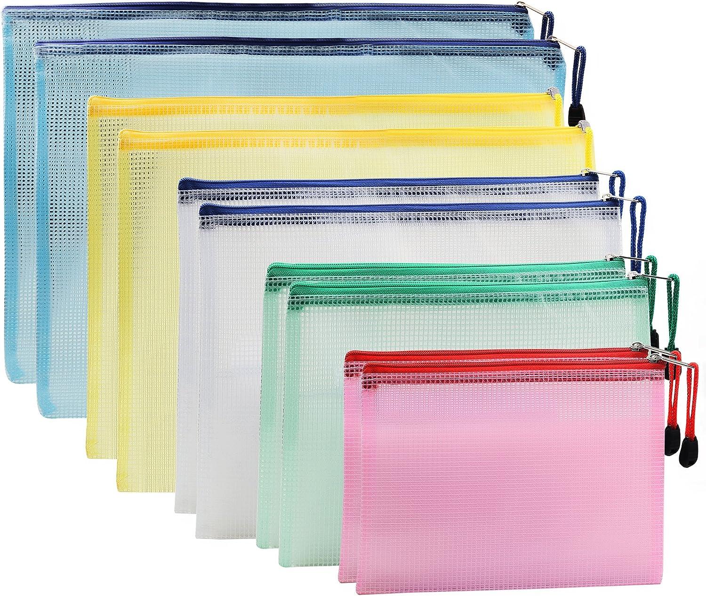 [10 PCS] Ipow Bolsas de Documentos Carpeta con cremallera de malla, Bolsa de archivo zip para documentos, papel, cosméticos y artículos de viaje