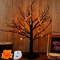 Brwoynn 18 Inch Lighted Black Birch Tree with 24 Pumpkins, Halloween Lighted Tree, Led Tree Light Halloween Decorations…