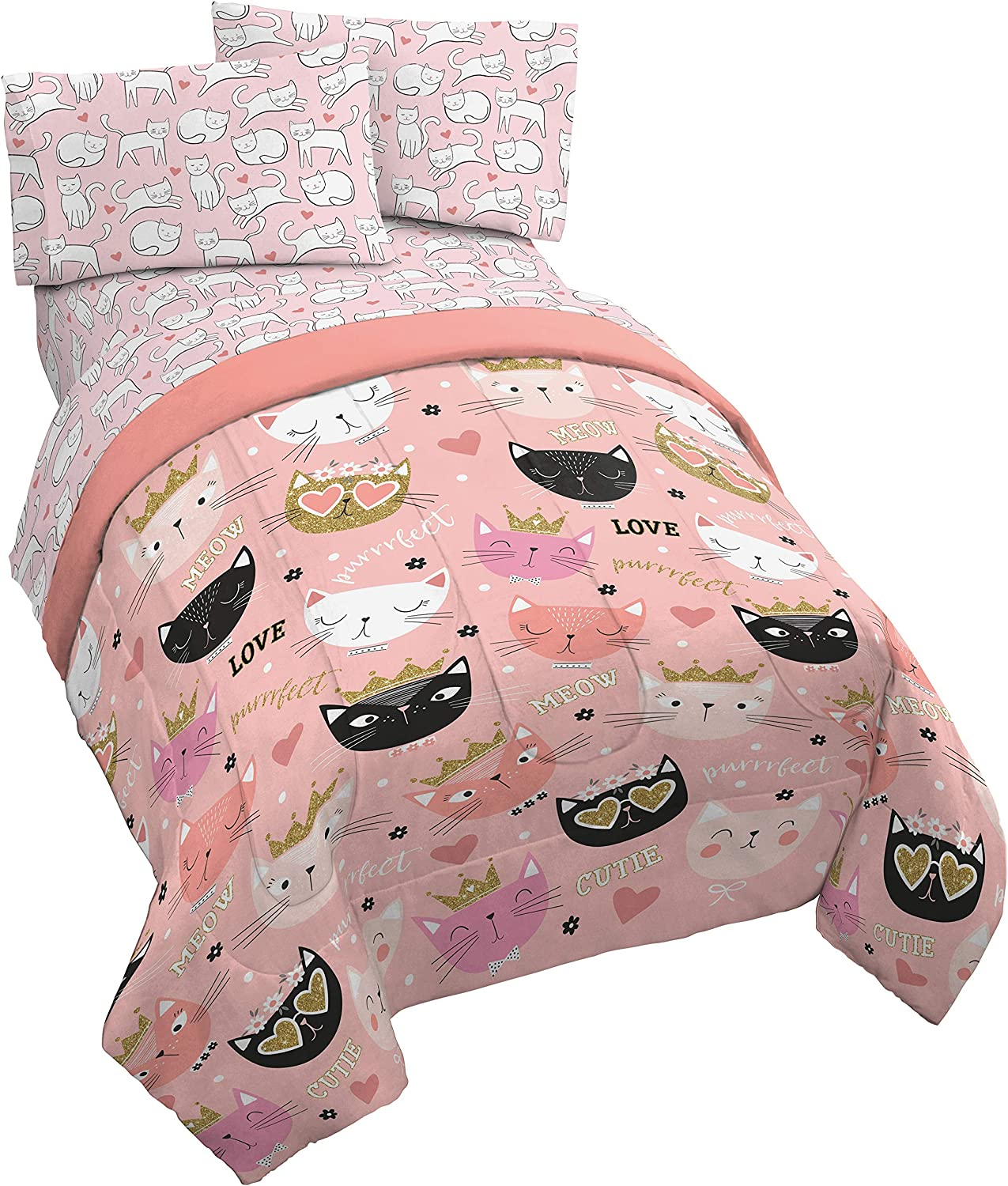 Jay Franco Purrrfect 5 Piece Full Bed Set - Includes Reversible Comforter & Sheet Set - Bedding Features Cats - Super Soft Fade Resistant Microfiber