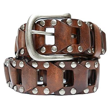 3b6db3f3bc5 AK6037-BRN - Toneka Men's Casual Steampunk Studded Brown Full grain Leather  Link Belt (