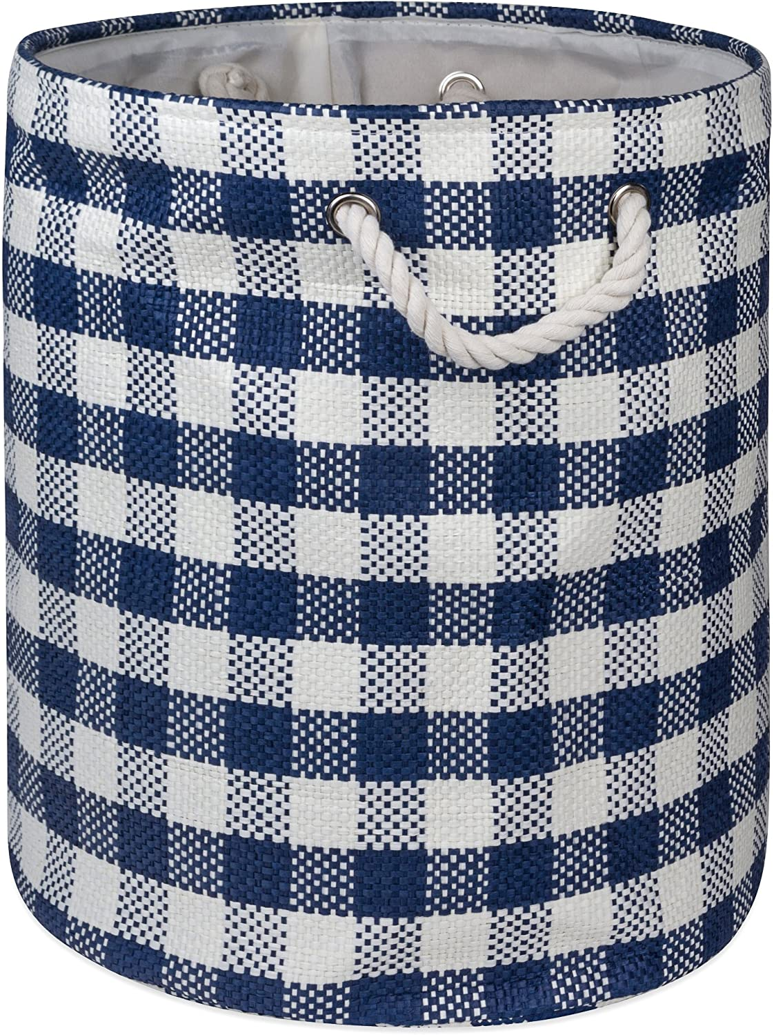 DII Checkers Woven Paper Collapsible Laundry Hamper and Storage Bin, 20x15x15, Large Round, Navy