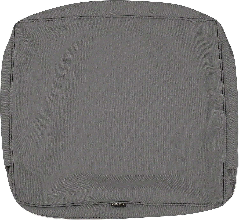Classic Accessories Montlake Patio Back Cushion Slip Cover, Light Charcoal, 25x22x4