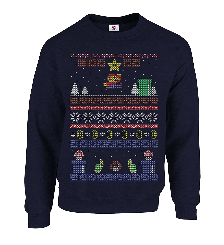 139e2411dce9 Graphic Impact Inspired Retro Gaming Freak Christmas Jumper Ugly Xmas  Sweatshirts  Amazon.co.uk  Clothing
