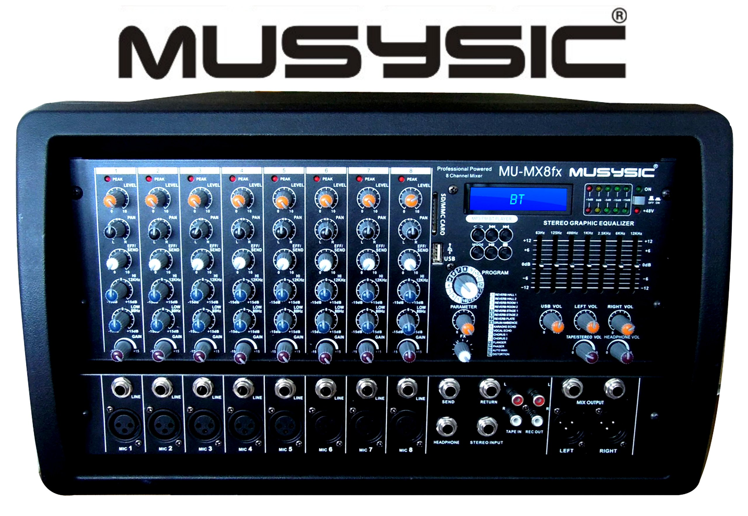 MUSYSIC PROFESSIONAL 8 CHANNEL 8000W POWER MIXER With Real DSP Sound effects and Bluetooth/USB/SD/FM Radio Function MU-MX8fx