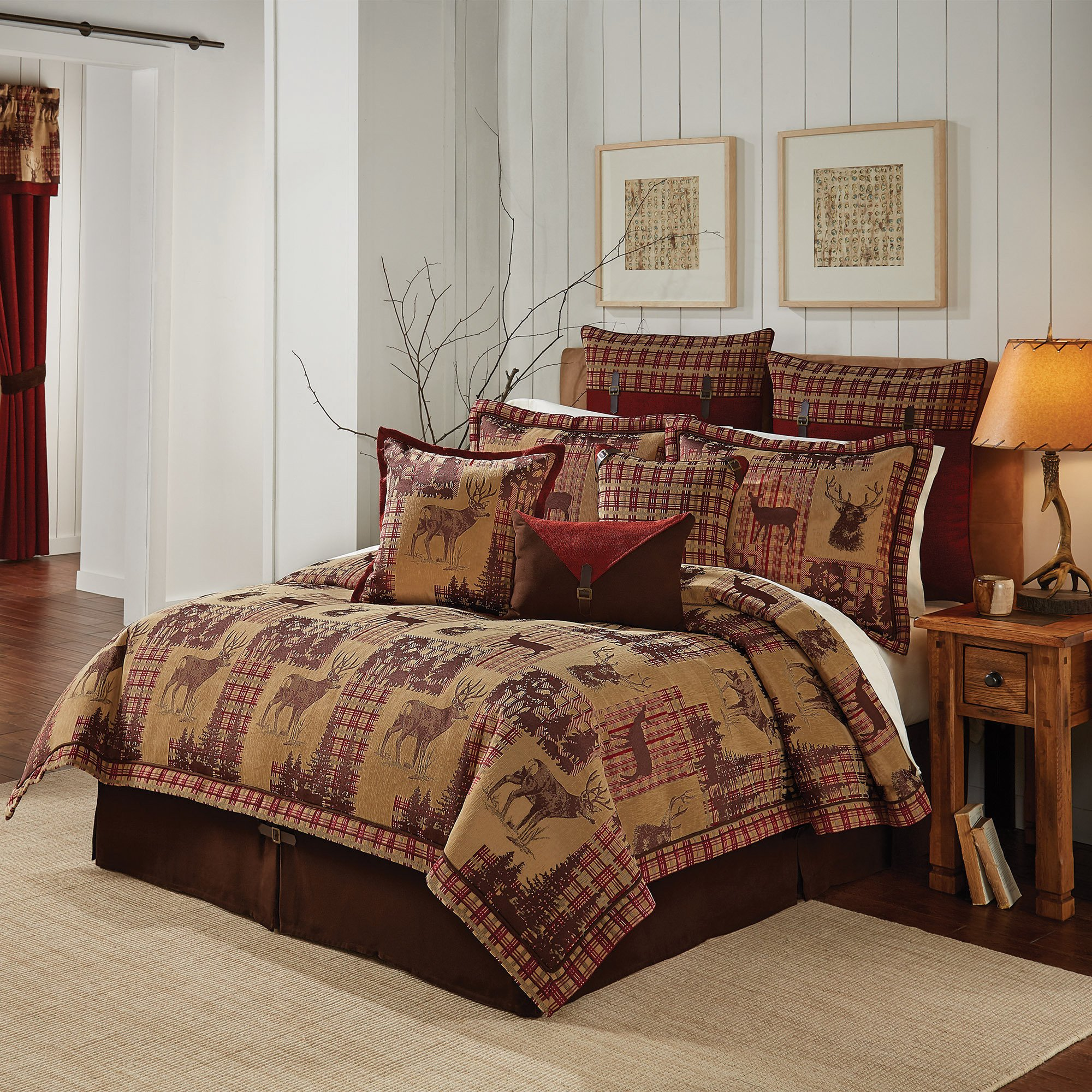 4 Piece Tan Brown Gold Red Cabin Themed Comforter King/Cal King Set, Hunting Lodge Bedding Deer Forest Woods Southwest Plaid Pattern Native American Rustic Animal Country, Jacquard by D&H (Image #1)