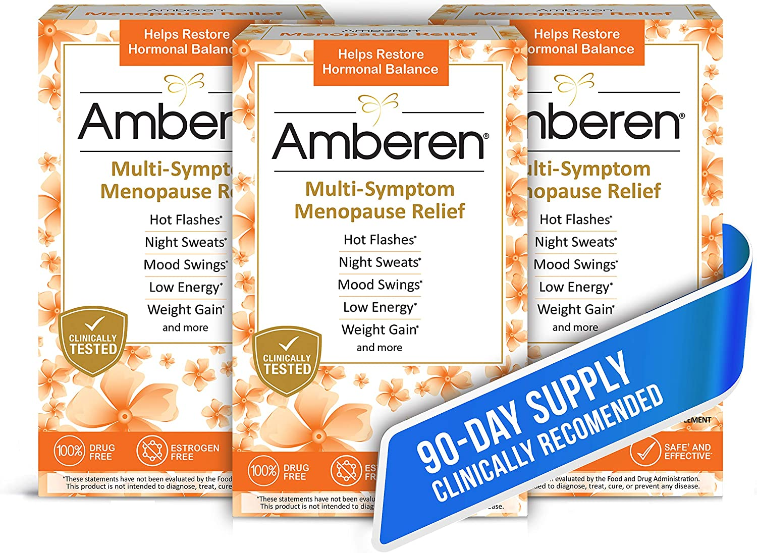 Amazon.com: Amberen: Safe Multi-Symptom Menopause Relief. Clinically Shown  to Relieve 12 Menopause Symptoms: Hot Flashes, Night Sweats, Mood Swings,  Low Energy and More. 3 Month Supply: Health & Personal Care