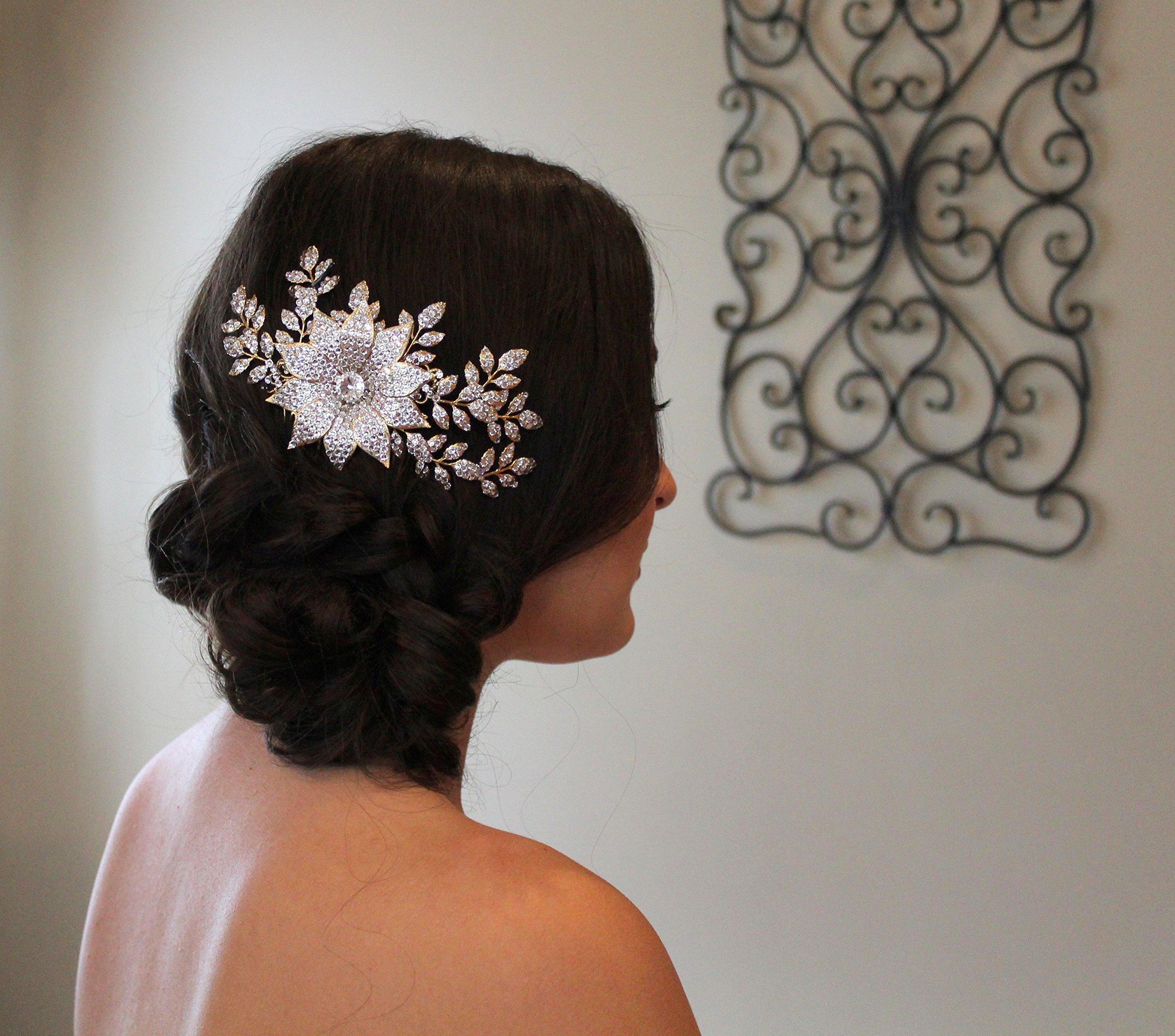 Gold Wedding hair comb, Swarovski crystal headpiece