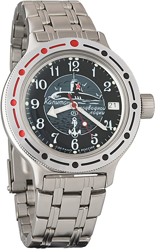 Orologio autocarica vostok amphibian 420831 genuine russian military divers watch 2416b/2415 200 m