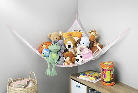 Toy Storage Hammock Kids Stuffed Animals De-cluttering Solution Storage Organizer by Whitmor Jumbo 6 Ft Pink Extra Large Hanging Net Sky Jungle Netting Childrens Playroom Storage for Plush Toys