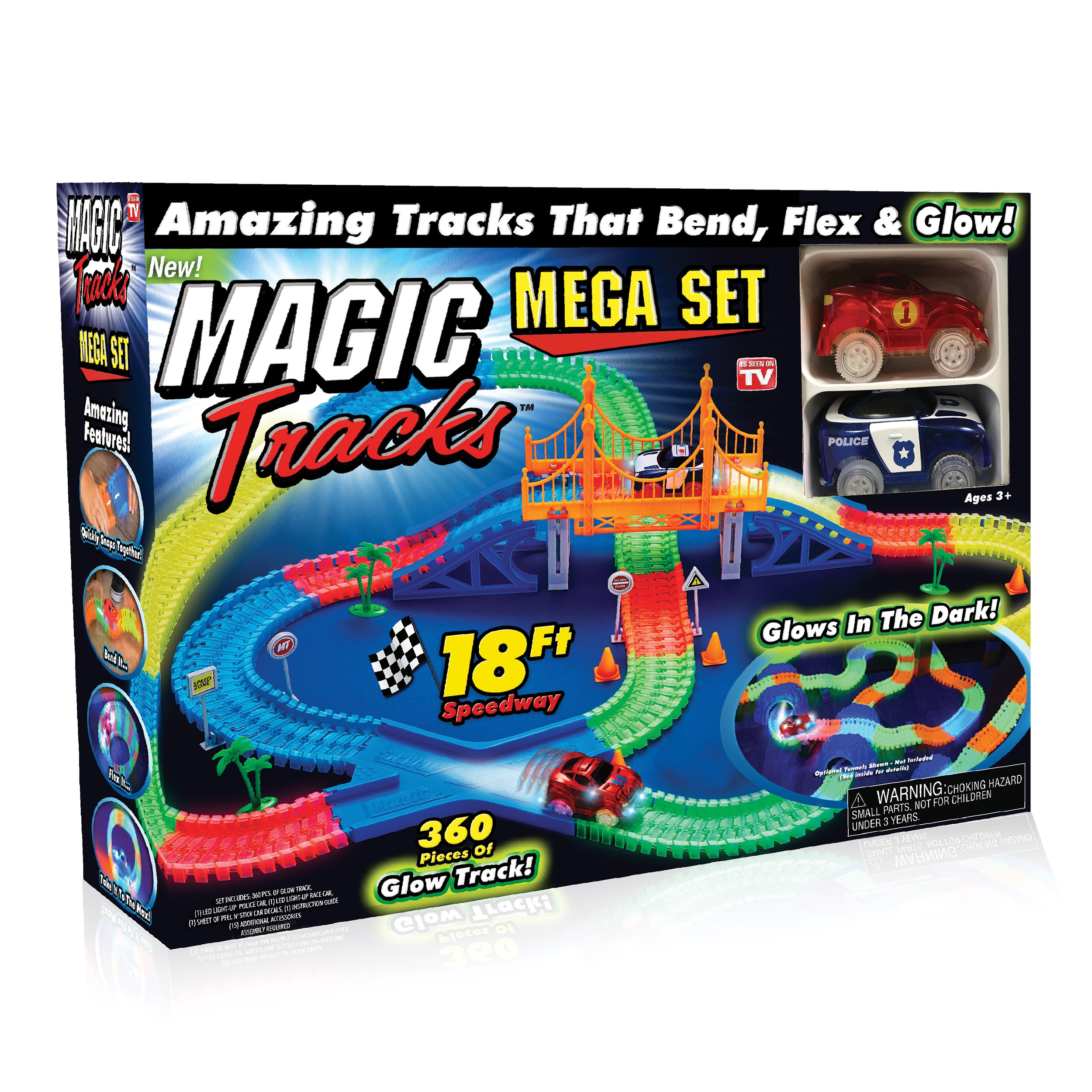 Ontel Magic Tracks Mega Set with 2 LED Race Car and 18 ft. of Flexible, Bendable Glow in the Dark Racetrack, As Seen on TV by Ontel