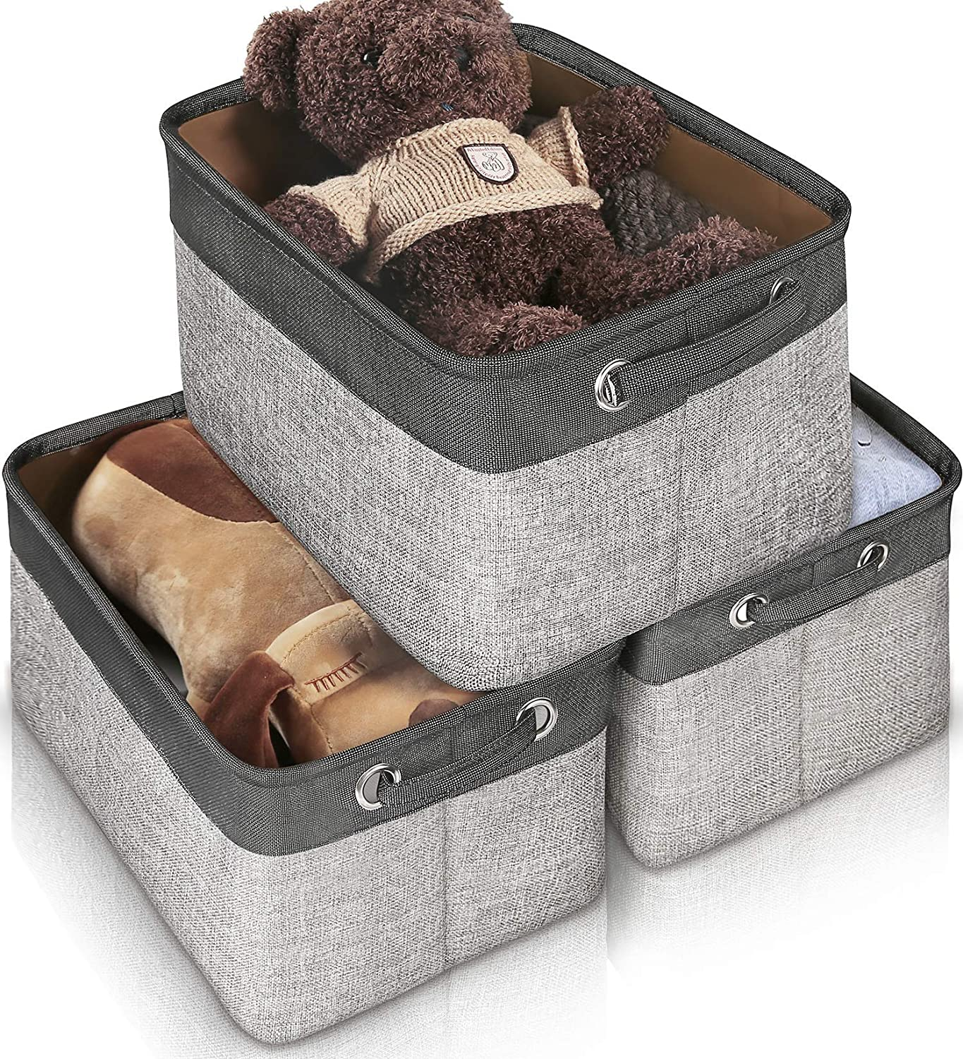 Storage Basket Bin Set [3-Pack], JOMARTO Large Cube Storage Box Linen Fabric Built-in Soft Lining Collapsible Storage Organizer with Handles for Nursery Shelf - 15 L x 10 W x 9 H(Grey+Black)