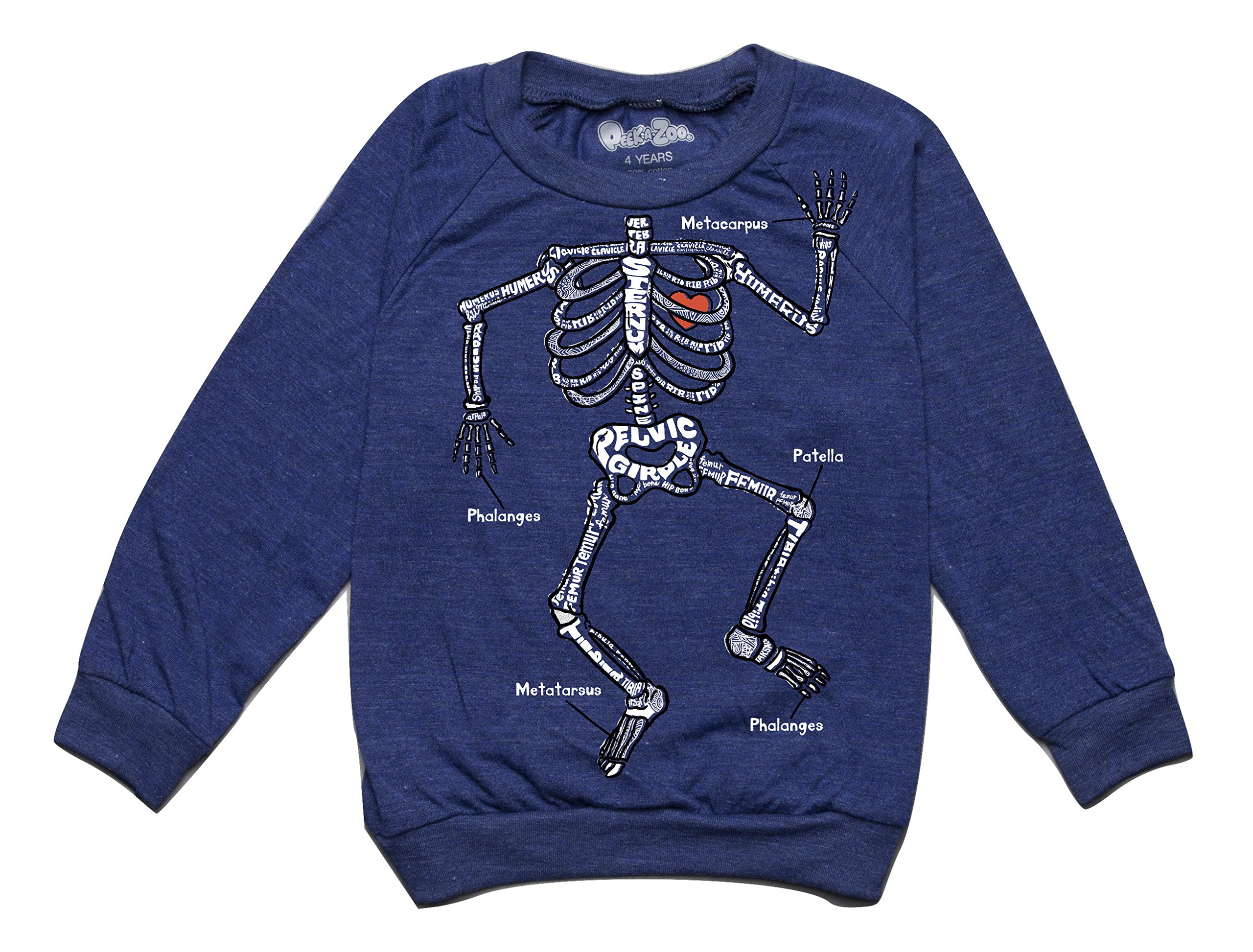 Peek-A-Zoo Toddler Longsleeve Become an Animal Pullover - Skeleton Navy - 6T