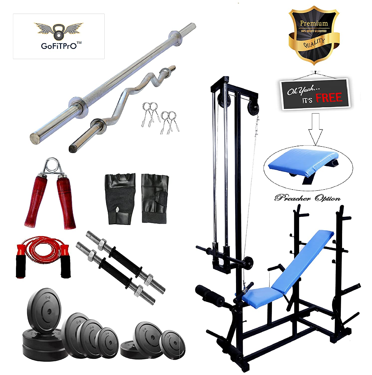 Gofitpro 20 In 1 Bench Double Support Special Quality (Pipe