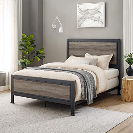 Walker Edison Rustic Farmhouse Wood Queen Metal Bed Headboard Footboard Frame Bedroom Grey Wash Furniture Decor