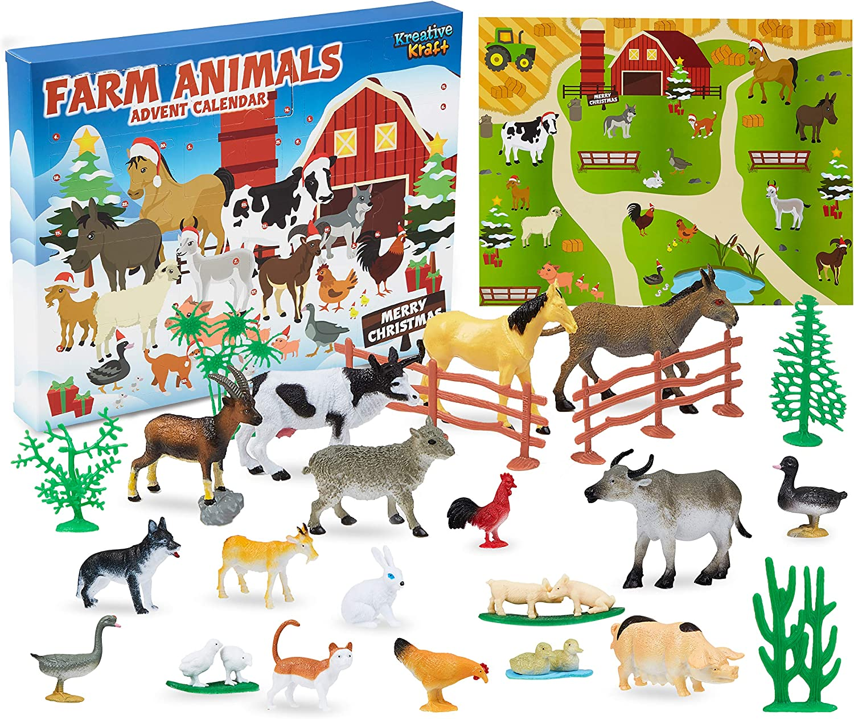 KreativeKraft Calendario Adviento Animales de Granja, Calendario de Adviento para Niños Incluye 24 Animales Juguetes, Advent Calendar Navidad para Niños y Niñas