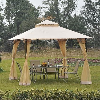 Outsunny 10u0027 X 10u0027 Steel Outdoor Garden Gazebo With Mosquito Netting    Black/