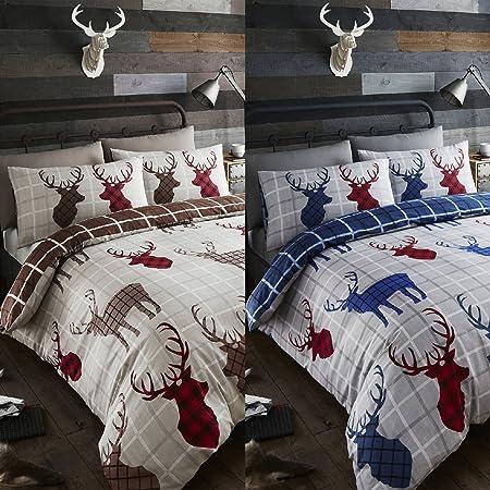 f17e26478113 Happy Linen Co Tartan Stags Reversible Duvet Cover Bedding Set Blue Red Grey  Super King: Amazon.co.uk: Kitchen & Home