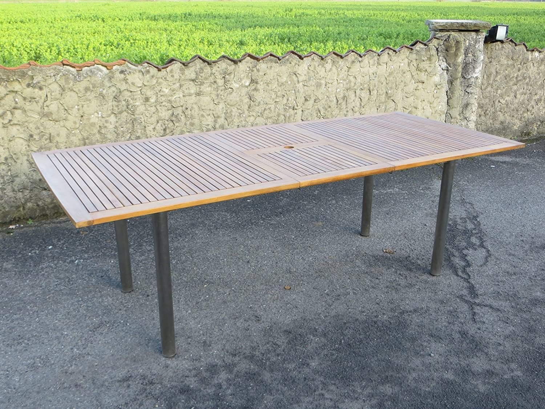 Landmann Ausziehtisch 180 auf 230 x 100 cm, Gestell Edelstahl mit Akazien-Platte, FSC-zertifiziert Belardo