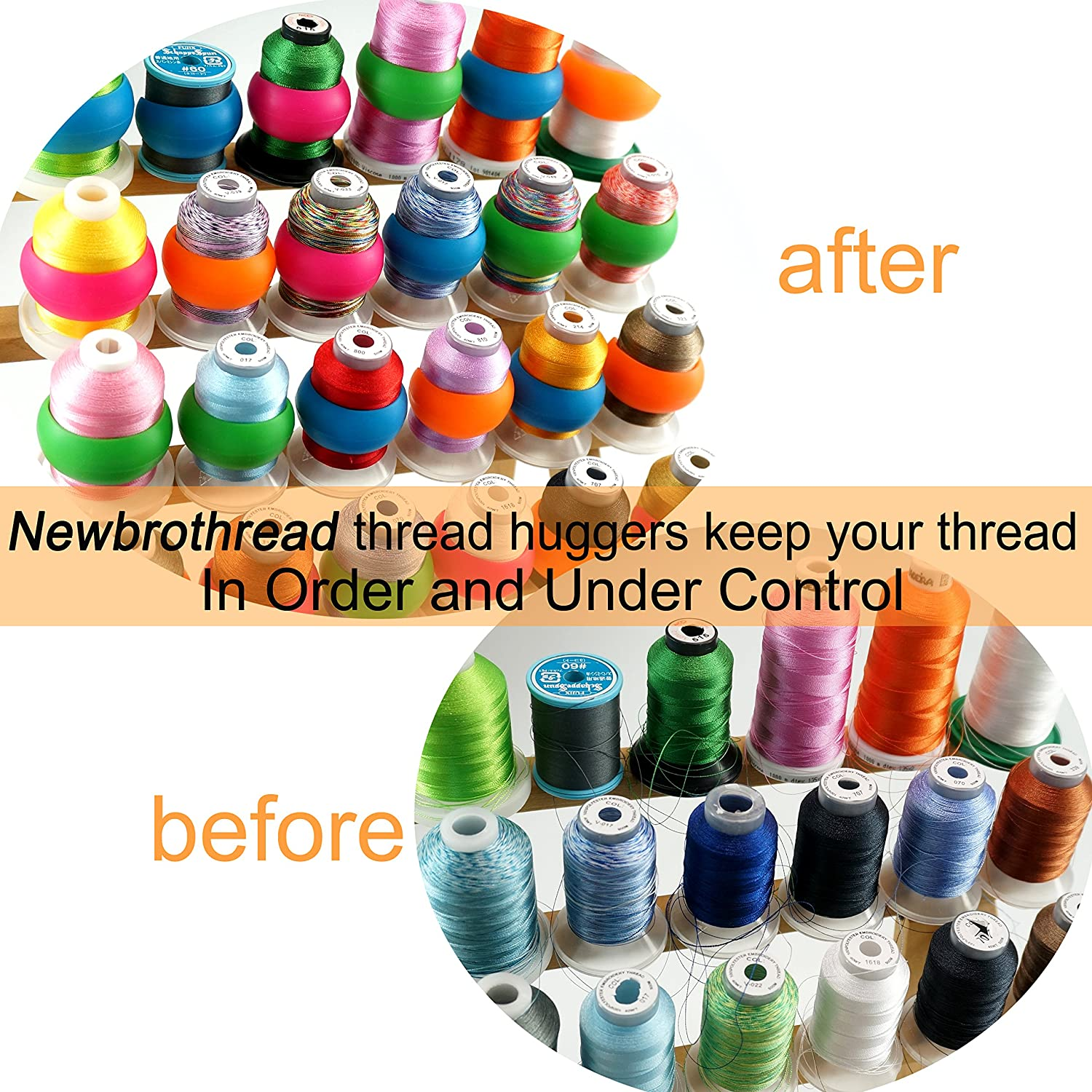 No Loose Ends for Sewing and Embroidery Machine Thread Spools Prevent Thread Tails from Unwinding New brothread 20pcs Thread Spool Huggers