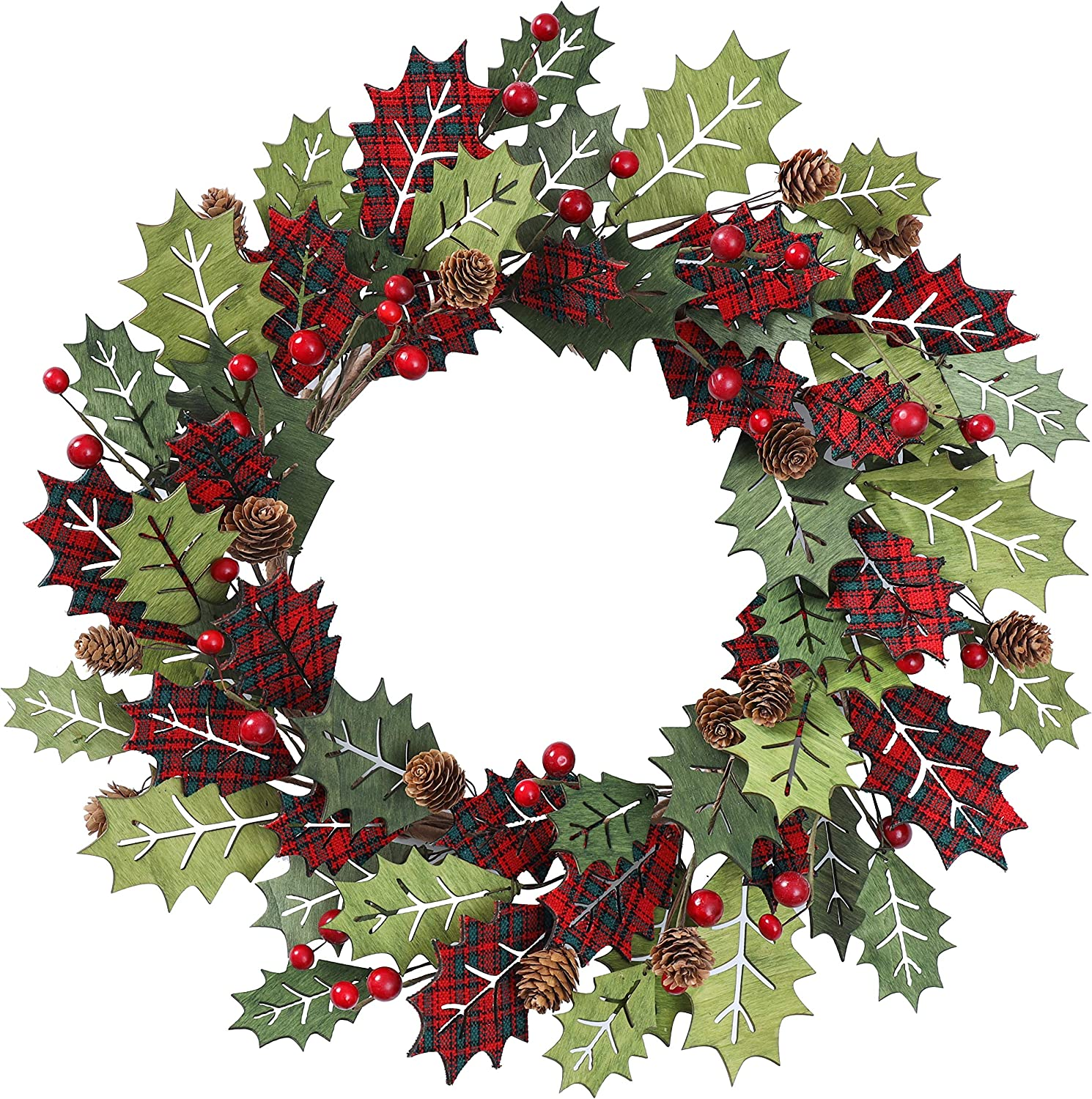 YNYLCHMX Christmas Wreath for Front Door, Artificial Door Wreath Flushed with Holly Leaves, Berry, Pine Cones, Home Decor for Indoor, Wall, Fireplace, Decoration, 20 Inch