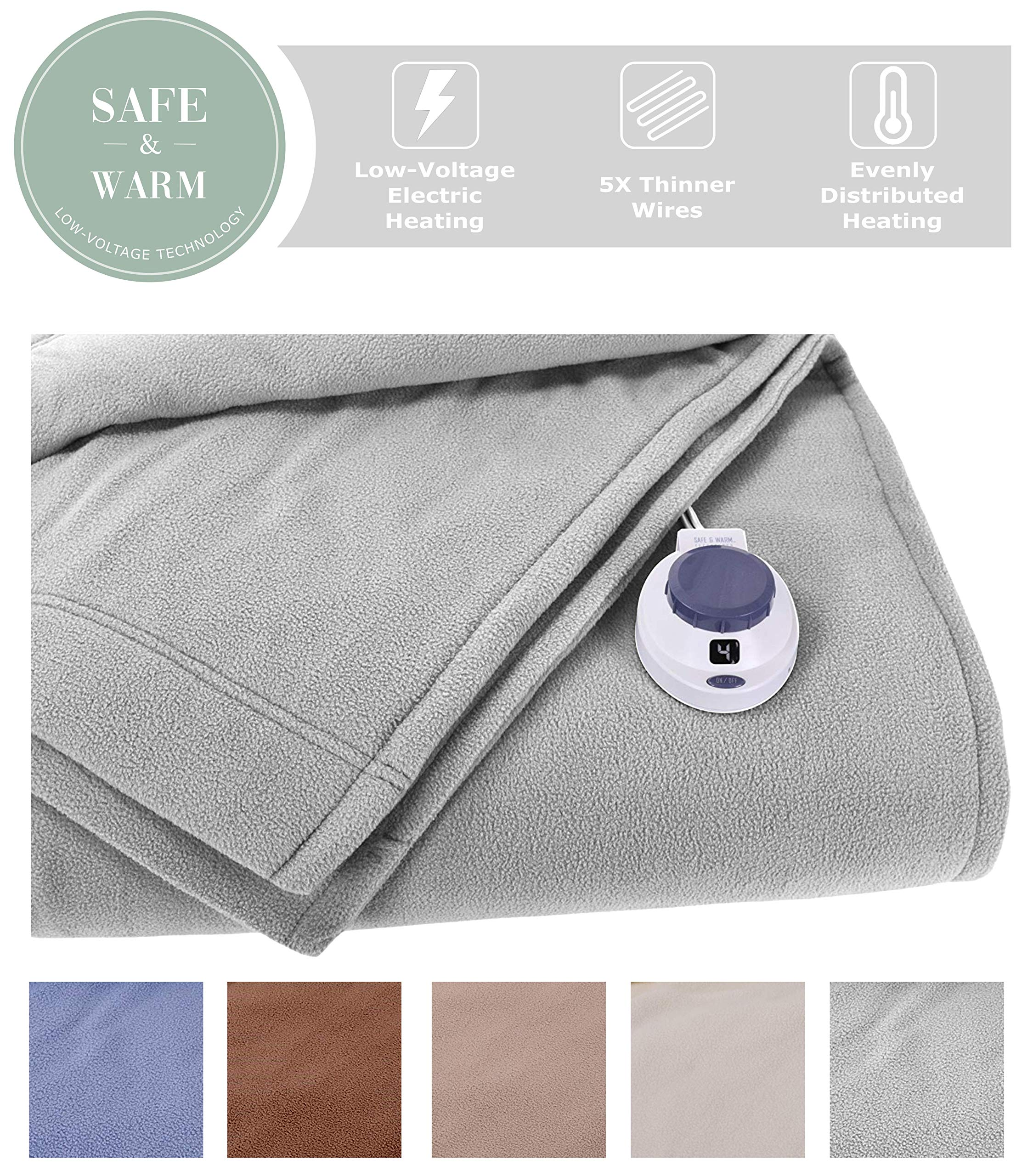 SoftHeat by Perfect Fit | Luxury Fleece Electric Heated Blanket with Safe & Warm Low-Voltage Technology (Full, Gray)