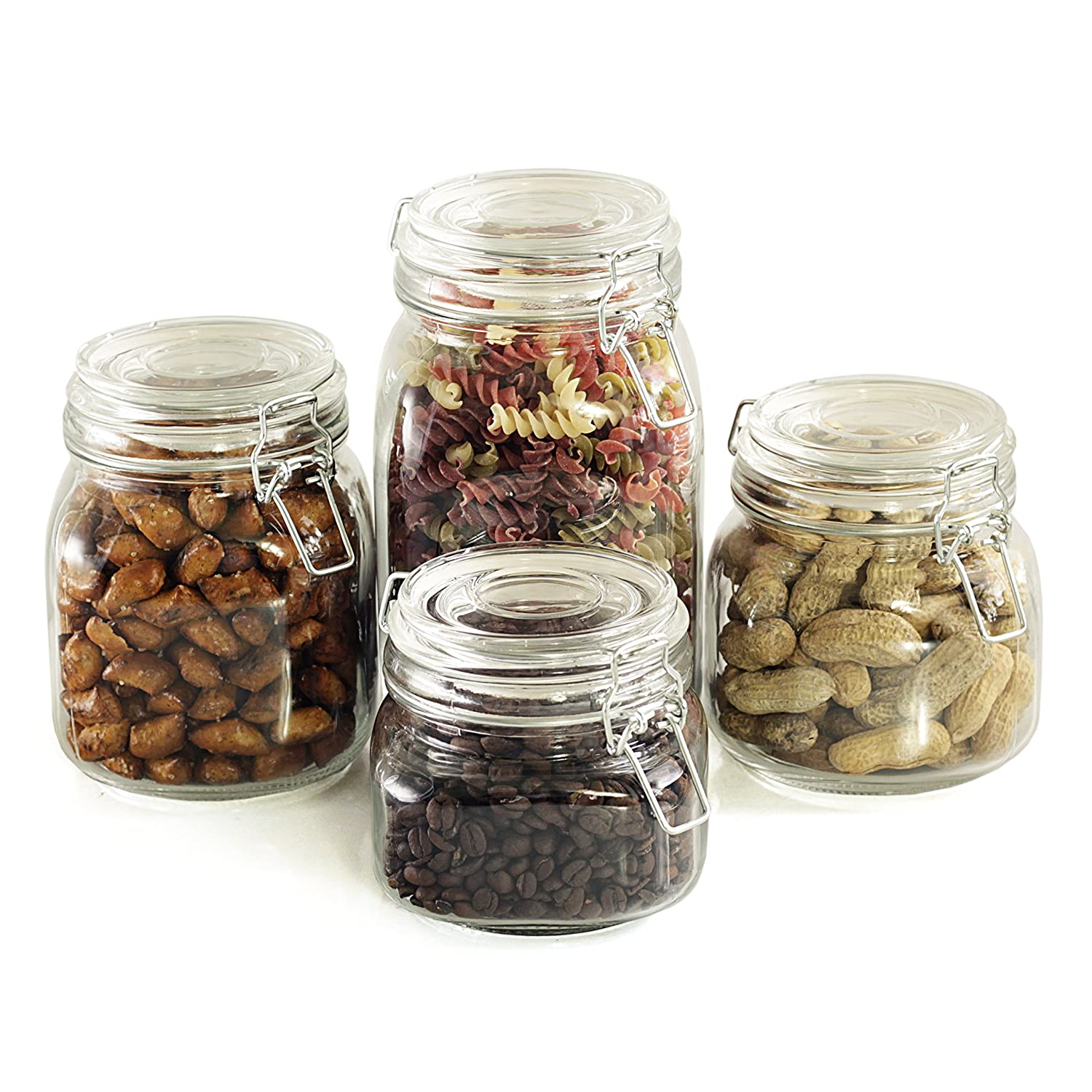 amazon com kitchen classics essentials glass 4 piece canister set