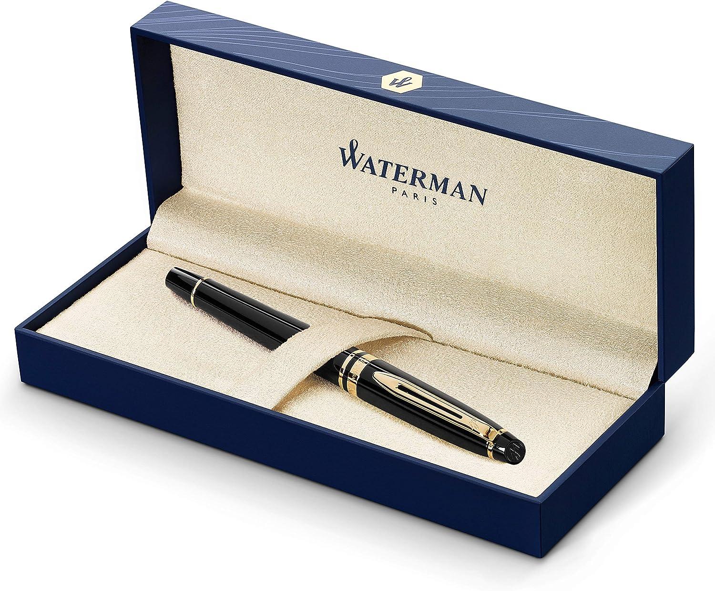 Waterman Expert Fountain Pen, Gloss Black with 23k Gold Trim