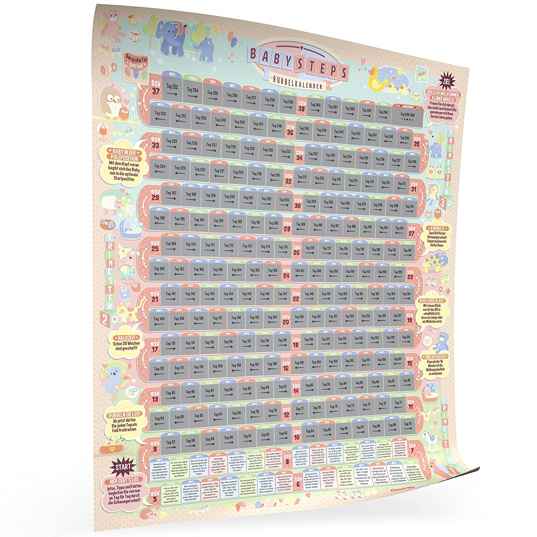 236 unterhaltsame Infos und Tipps f/ür werdende Eltern Clever me/® 1894 BabySteps Rubbelkalender