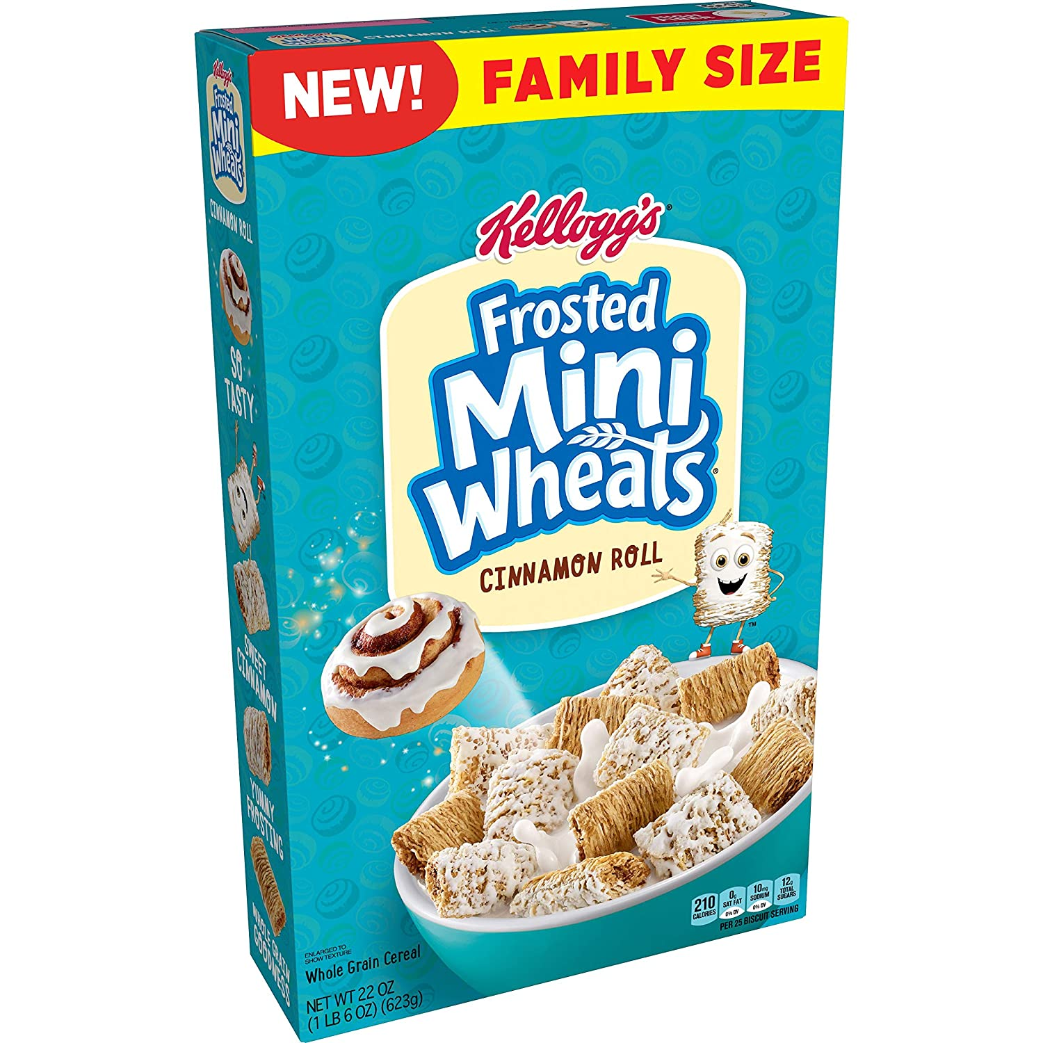 Kellogg's Frosted Mini Wheats, Breakfast Cereal, Cinnamon Roll, High Fiber Food, Family Size, 22oz Box(Pack of 8)
