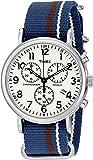 Timex Unisex TW2P62400 Weekender Chrono Oversize Blue/Cream/Brown Striped Slip-Thru Nylon Strap Watch