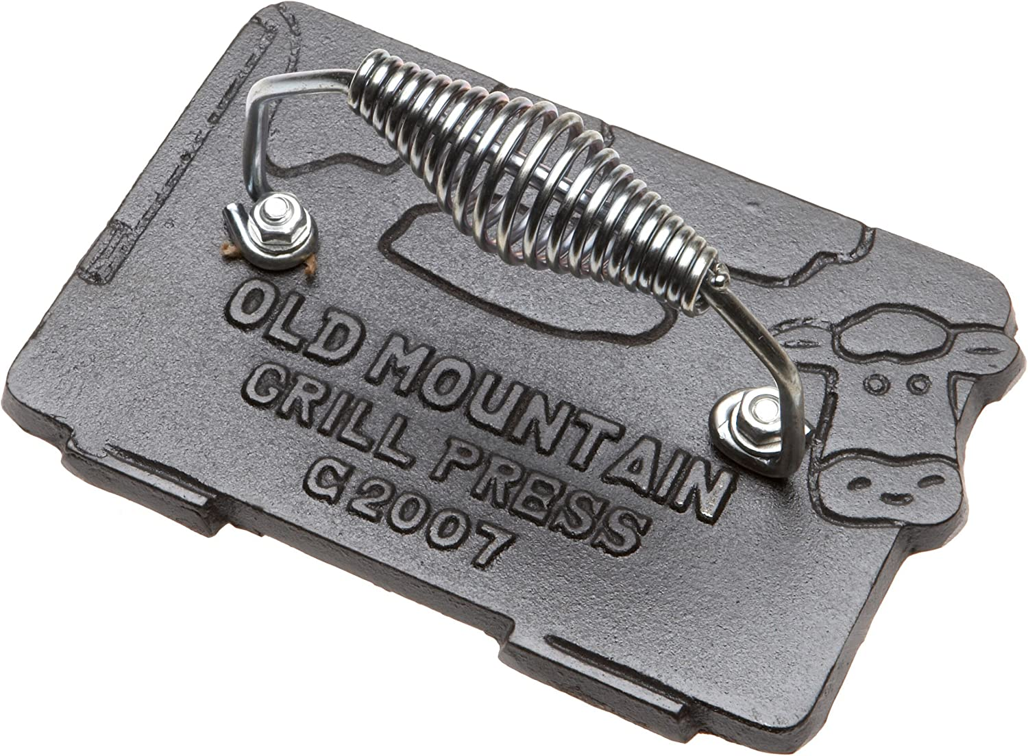 Old Mountain Pre Seasoned 10151 Cow Shaped Bacon/Grill Press, 7 Inch by 4-1/2-Inch