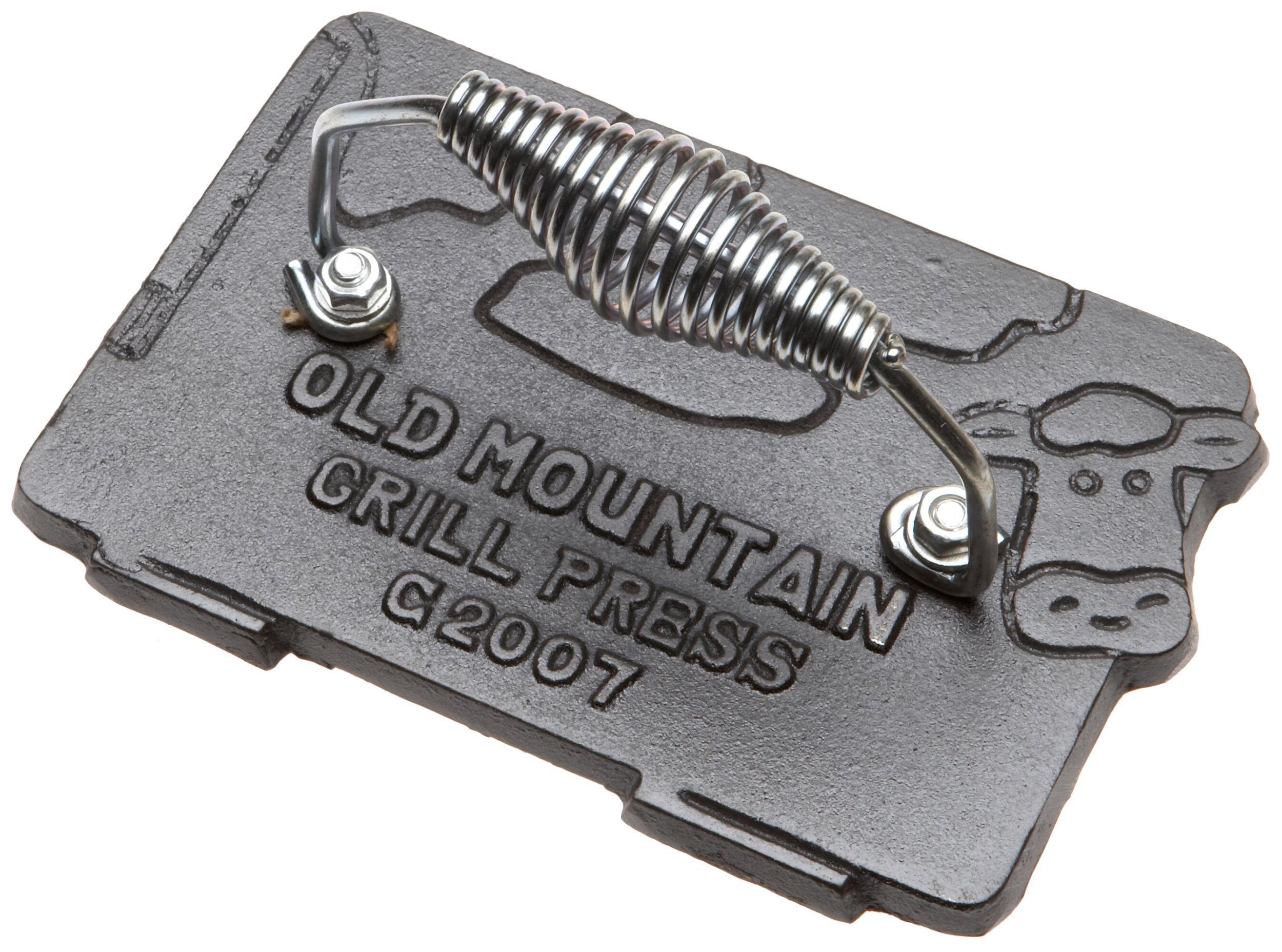 Old Mountain Pre Seasoned 10151 Cow Shaped Bacon/Grill Press, 7 Inch by 4-1/2-Inch by Old Mountain