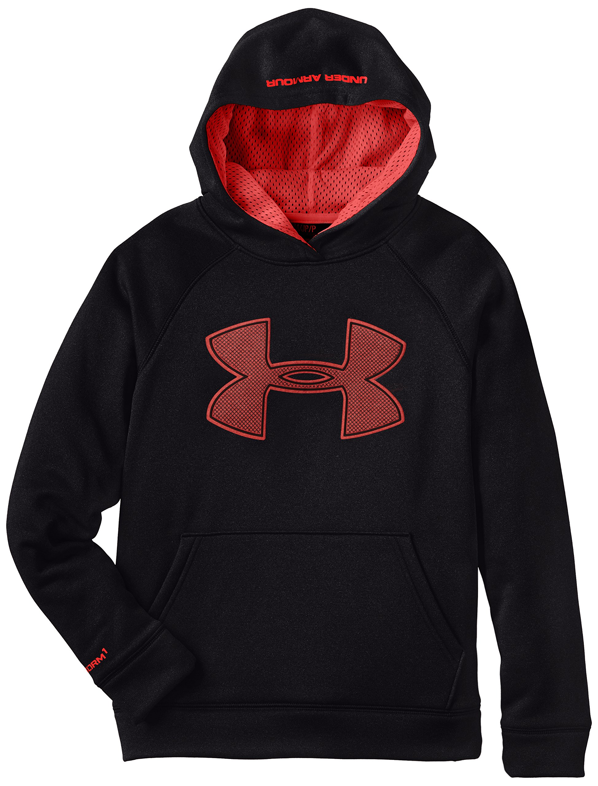 Under Armour Boys' Fleece Storm Big Logo Hoodie, Black /Risk Red, Youth X-Small by Under Armour