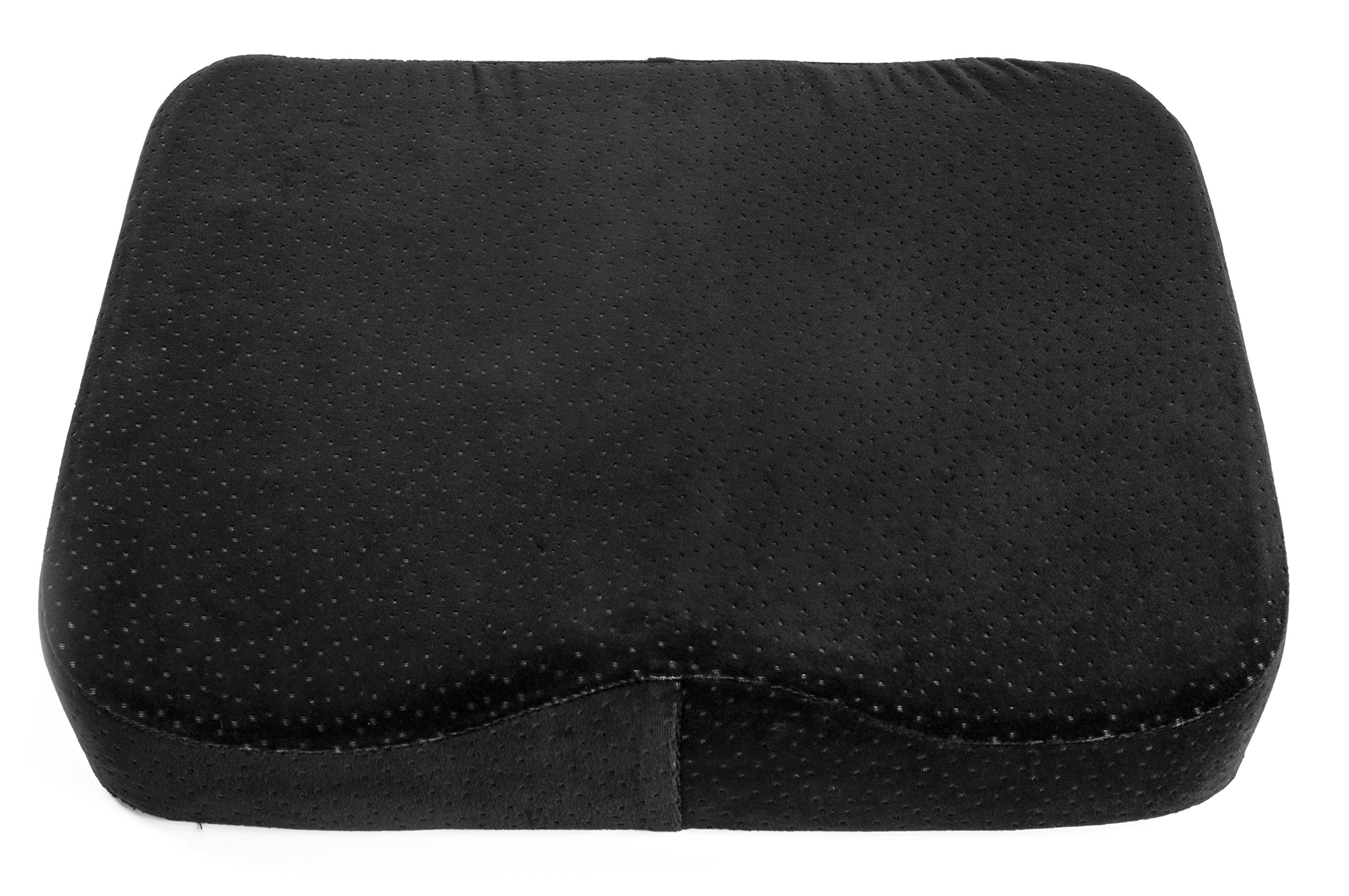 AERIS Memory Foam Seat Cushion Premium Large Office Chair Pad with a Buckle to Prevent Sliding-Car Machine Washable Black Plush Velour Cover by AERIS (Image #2)