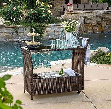 Incroyable Outdoor/Patio Multibrown PE Wicker 44.75u0027u0027Dx37u0027u0027Wx18u0027u0027H