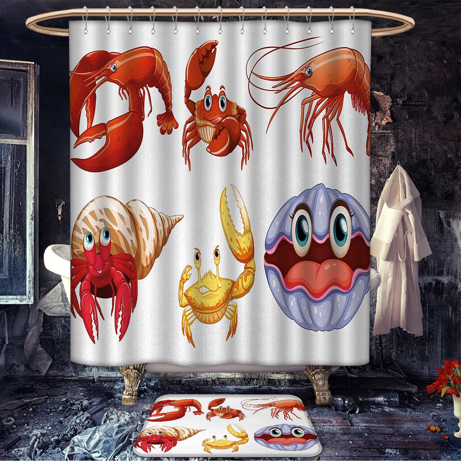 Longbuyer Crabs custom made Bath mat set Illustration of Sea Animals like Crab Hermit Crab Lobster Shells Shrimp Print Satin Fabric sets bathroom Orange Yellow