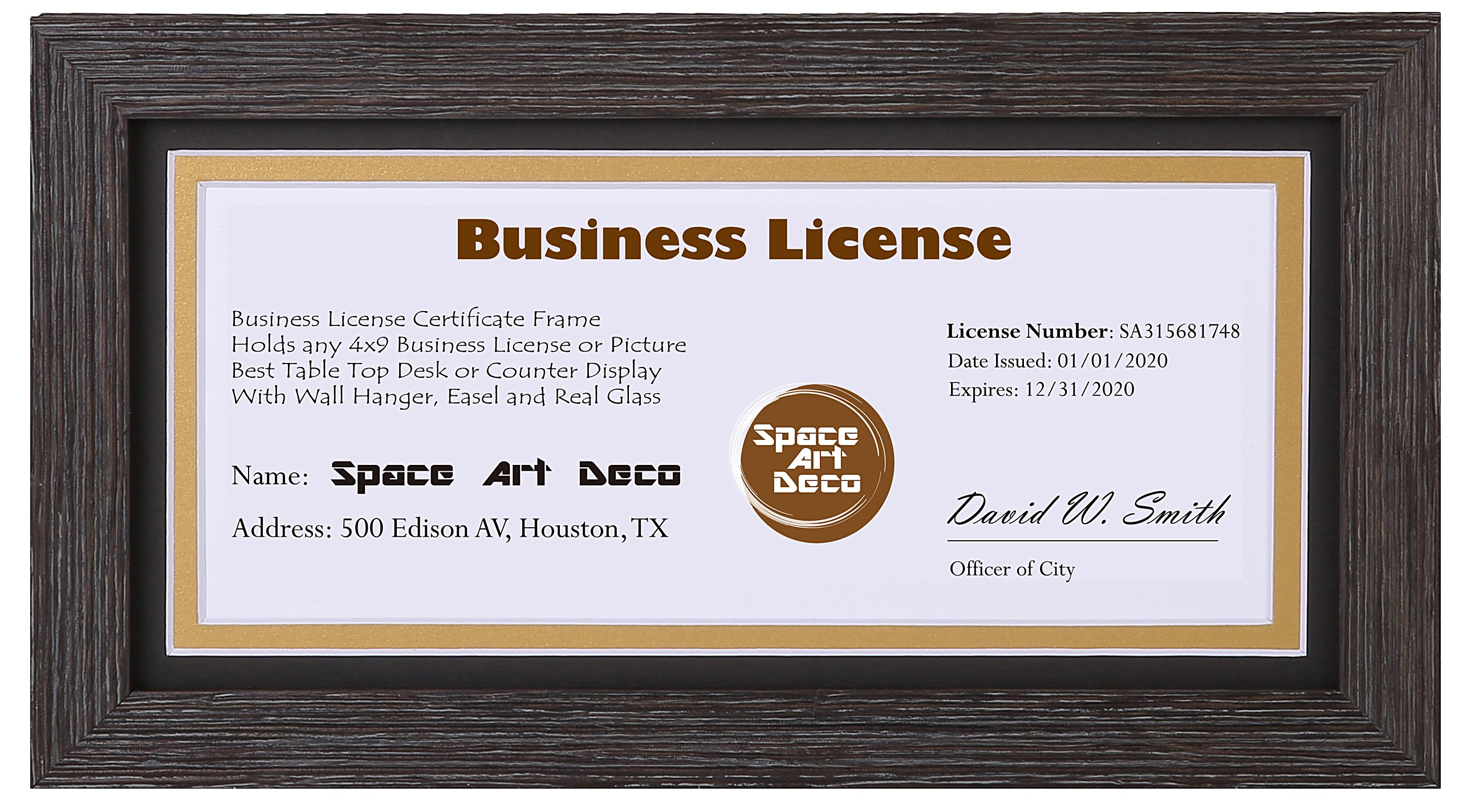 Space Art Deco 5x10 Dark Brown Textured Frame - Black over Gold Double Mat - For 4x9 Business License and Certificates - Easel Stand - D-Ring Hangers - Desk/Table Top Display - Glass