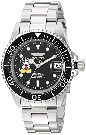 Invicta Mens Disney Limited Edition Automatic Stainless Steel Casual Watch, Color:Silver