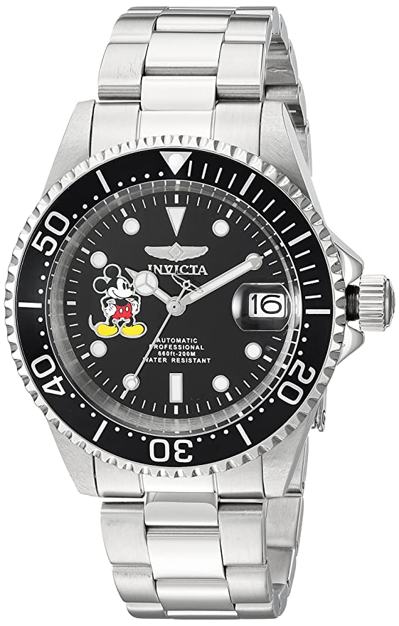 Invicta Men's Disney Limited Edition Automatic-self-Wind Watch with Stainless Steel Strap, Silver, 9 (Model: 22777)