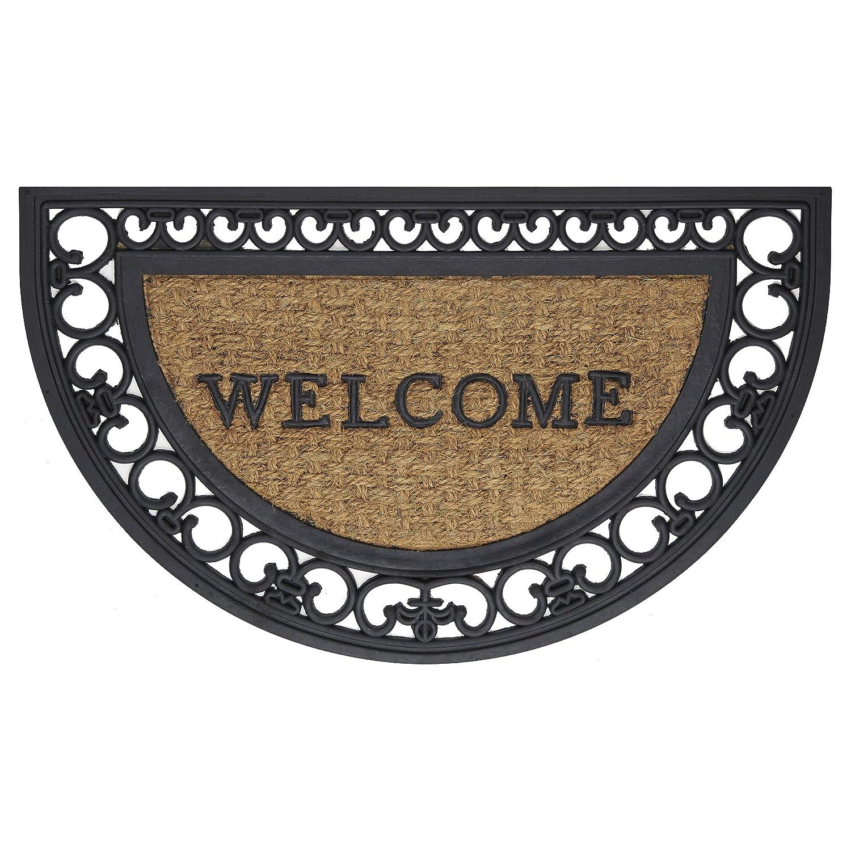 "Achim Home Furnishings WRM1830FS6 Fleur De Lis Slice Wrought Iron Rubber Door Mat, 18 by 30"""