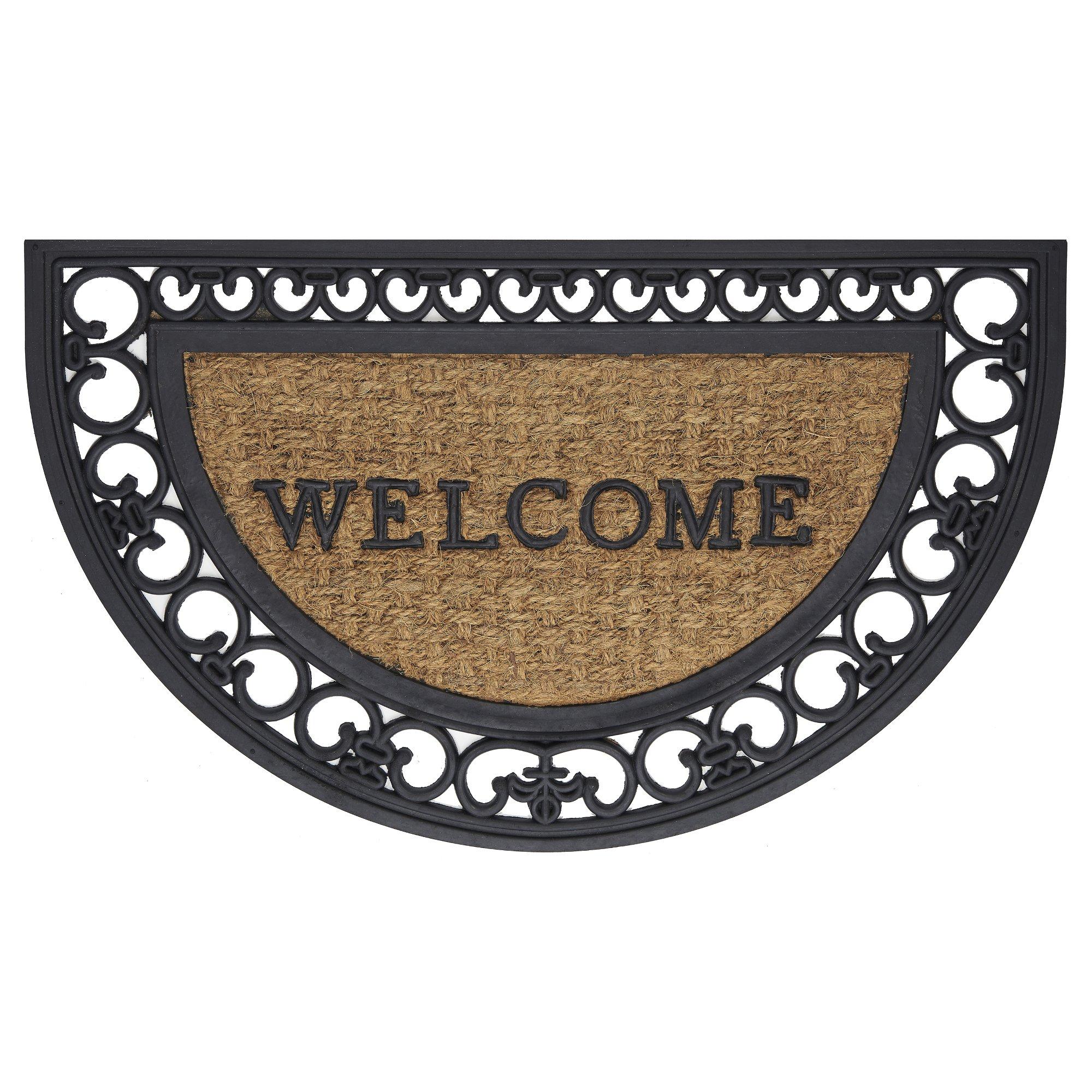 Achim Home Furnishings WRM1830FS6 Fleur De Lis Slice Wrought Iron Rubber Door Mat, 18 by 30''