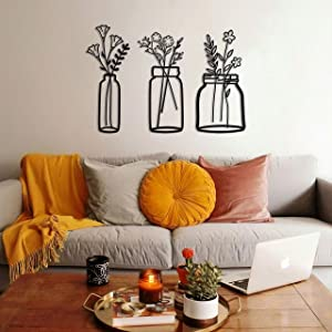 SOFT ART HOME Modern Wall Art Spring Flowers , Metal Wall Decoration 3 Pieces for Home. Vase Flowers Interior Decor for Office and Living Room, Natural Themed House Warming Gift